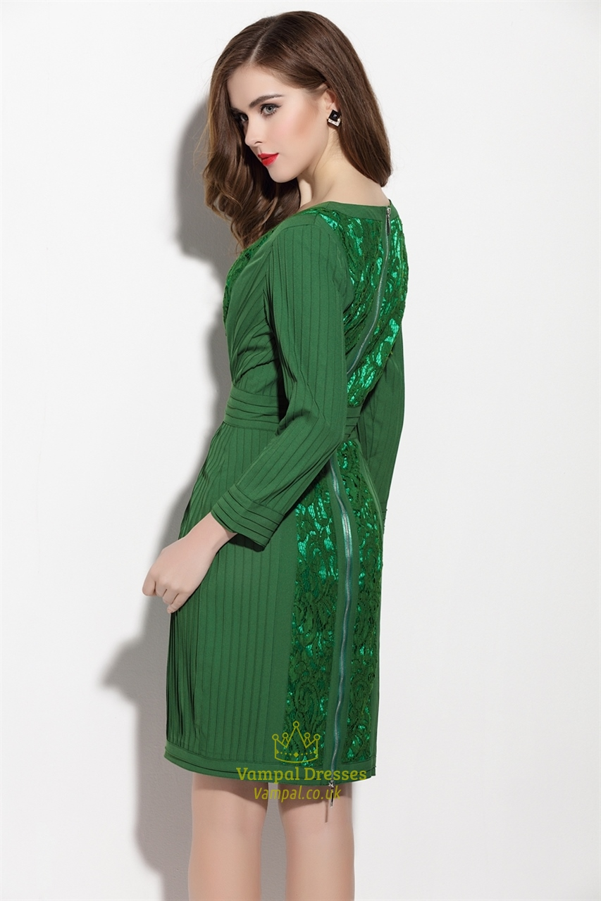 Green dress with sleeves pictures