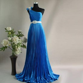Elegant Blue Satin Crinkling One Shoulder 2019 Prom Evening Dress