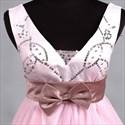 Glamorous Pink Soft Net 2021 Short Cocktail Dress V-neck