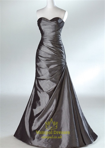 A-Line Grey Taffeta Sweetheart Strapless Prom Dresses Evening Gown