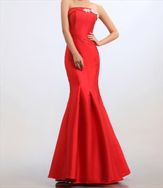 Red Mermaid Prom Dresses 2019,Strapless Beaded Long Mermaid Prom Dress