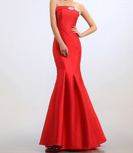 Red Mermaid Prom Dresses 2021,Strapless Beaded Long Mermaid Prom Dress