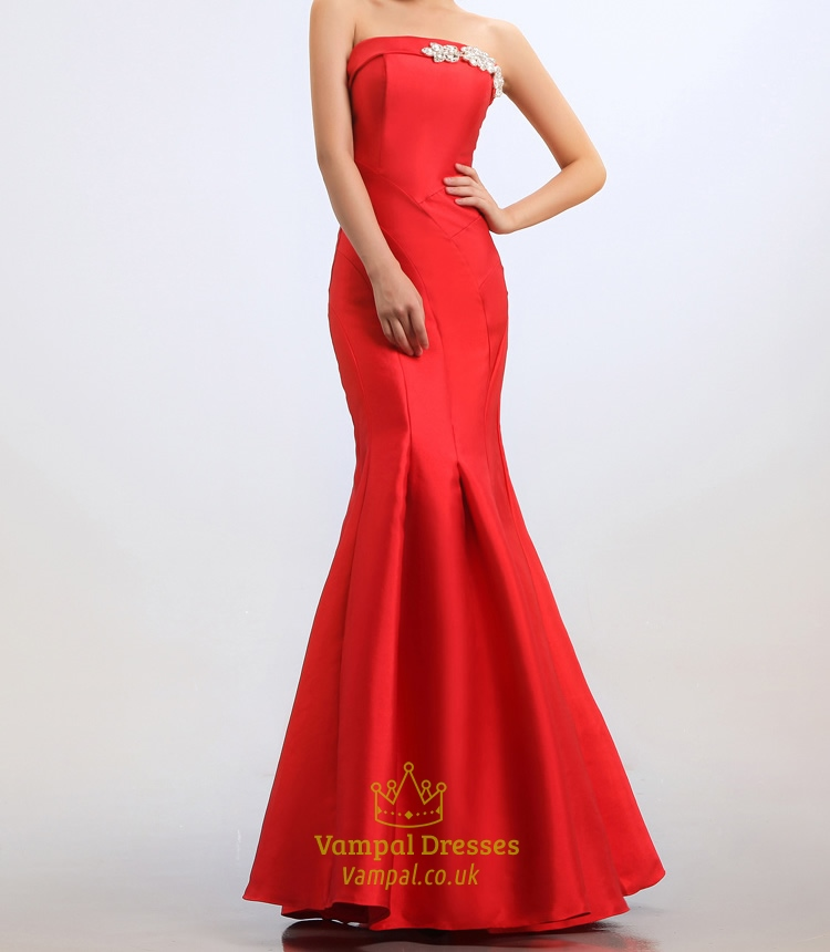 Red Mermaid Prom Dresses 2018,Strapless Beaded Long Mermaid Prom Dress