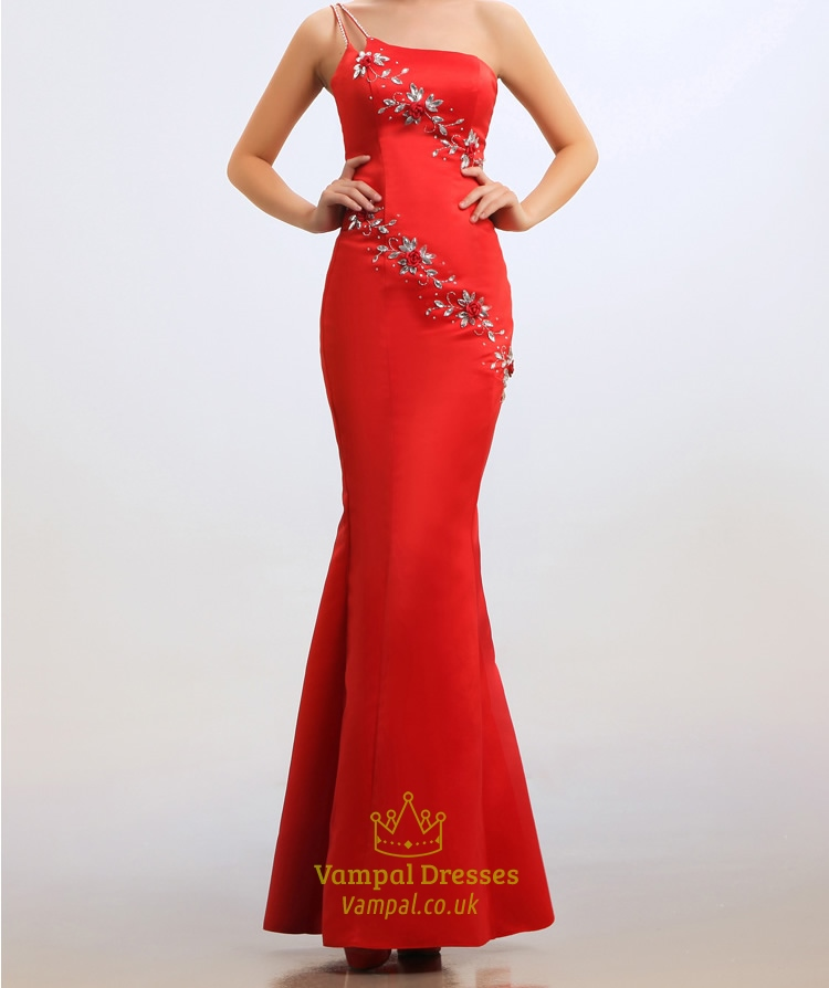 Red One Shoulder Prom Dress, Strapless Beaded Long Mermaid Prom Dress
