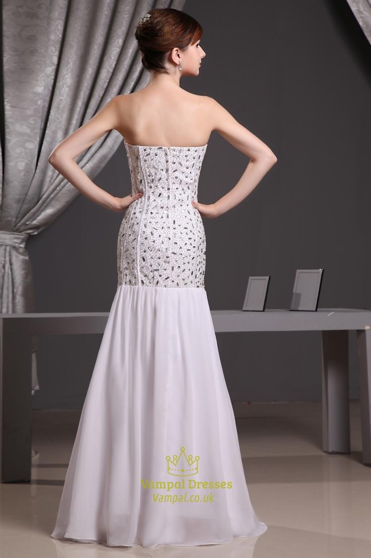 White Mermaid Prom Dresses 2019, Sweetheart Mermaid ...