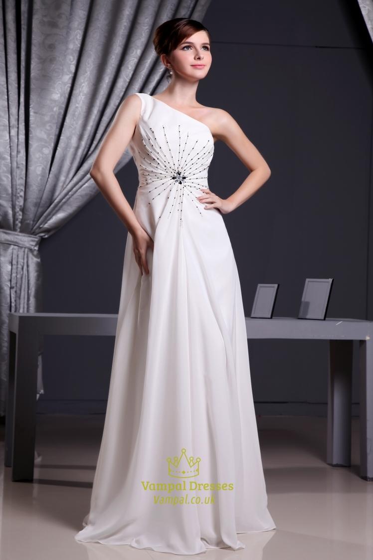 White Grecian One Shoulder Chiffon Prom Dress Long