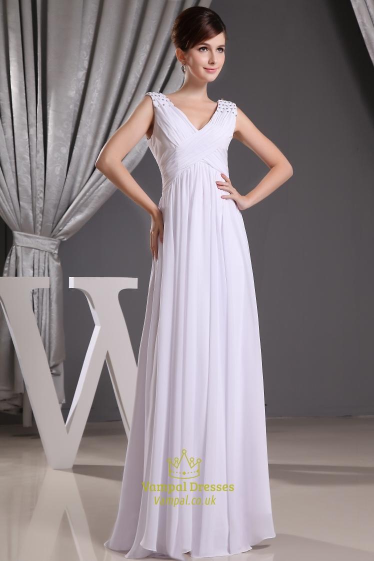 A Line V Neck Long Chiffon Prom Dress Long White Chiffon