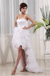 Sweetheart High Low Prom Dress, White High Low Wedding Dresses