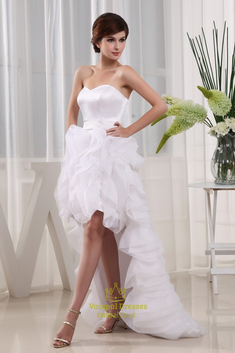 Sweetheart high low prom dress white high low wedding for White high low wedding dress