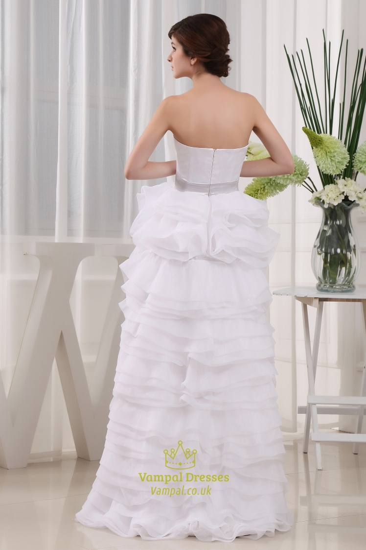 Sweetheart high low prom dress white high low wedding for High low sweetheart wedding dress