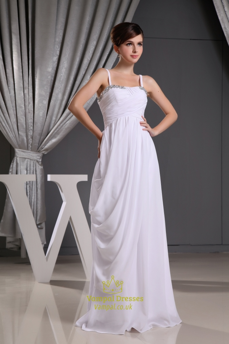 Chiffon Spaghetti Strap Bridesmaid Dress Long Chiffon