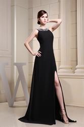 Long Black Chiffon Evening Dress, Floor-Length Black Evening Gowns