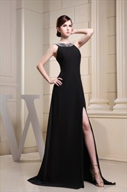 Long Black Chiffon Evening Dress, Floor-Length Black Evening Gowns
