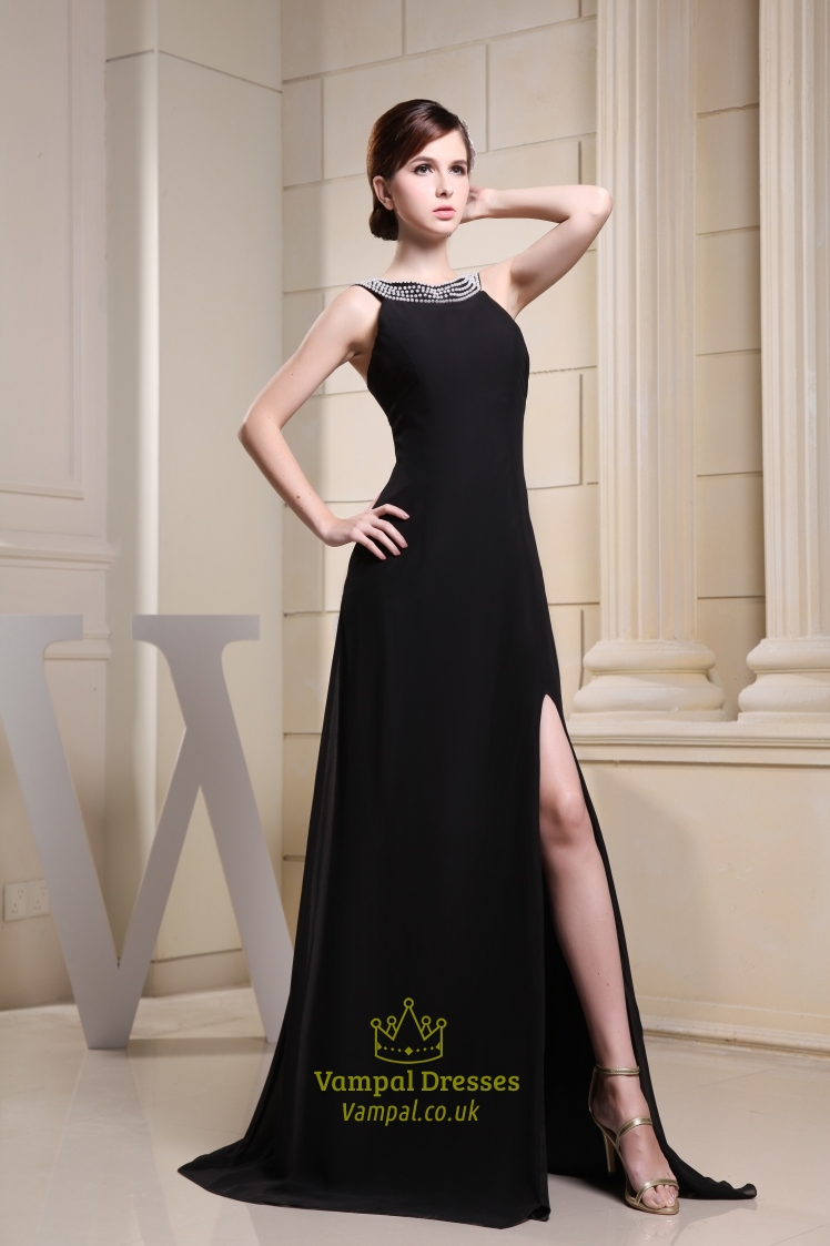 99025872f5 Long Black Chiffon Evening Dress