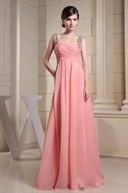 Long Coral Bridesmaid Dress, Chiffon A-Line Floor-Length Evening Dress