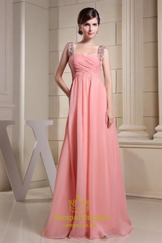 Long Coral Bridesmaid Dress Chiffon A Line Floor Length