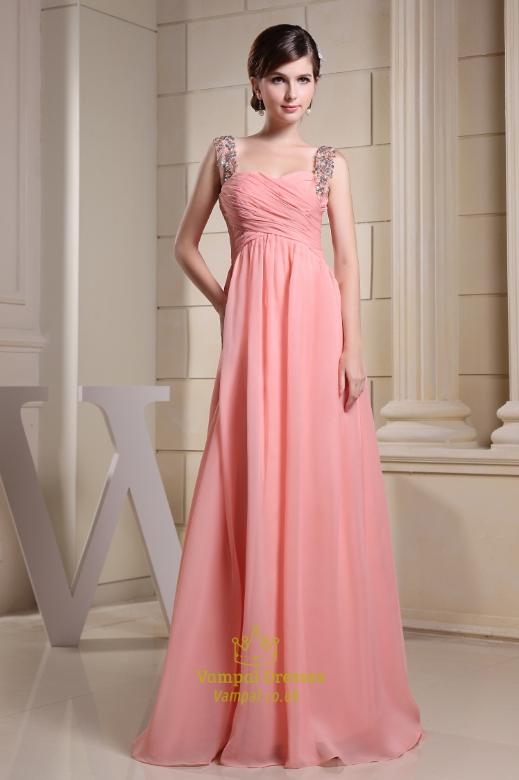 4c9b75053dfc Long Coral Bridesmaid Dress, Chiffon A-Line Floor-Length Evening Dress SKU  -CF053