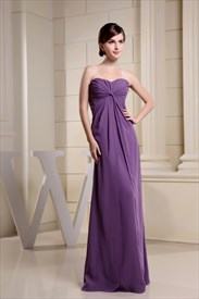 Purple Chiffon Bridesmaid Dress, Chiffon Empire Waist Bridesmaid Dress