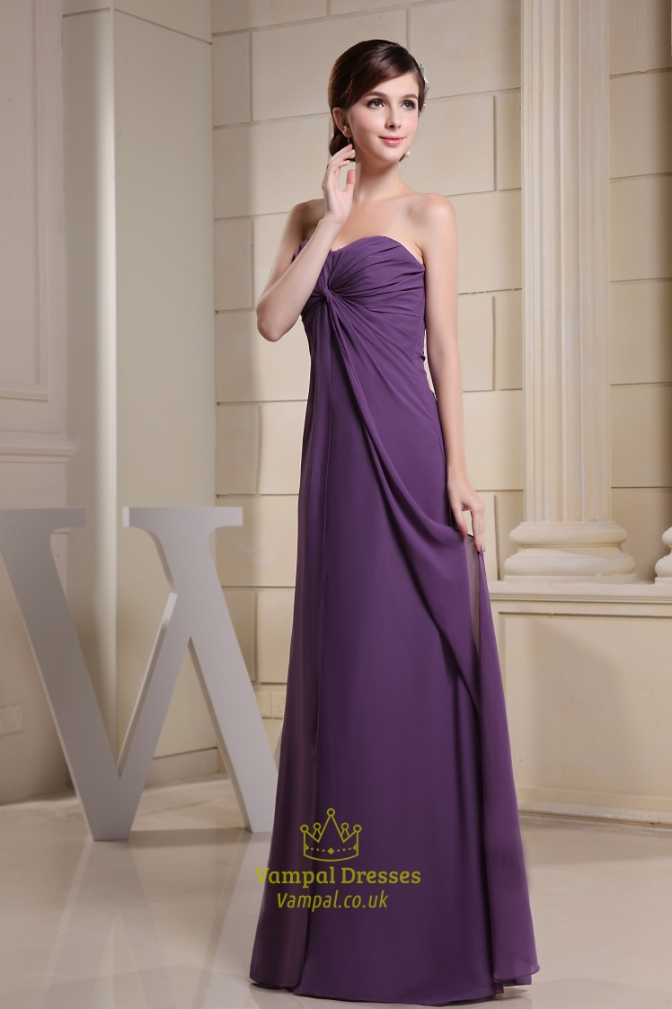 Purple Chiffon Bridesmaid Dress, Chiffon Empire Waist Bridesmaid ...