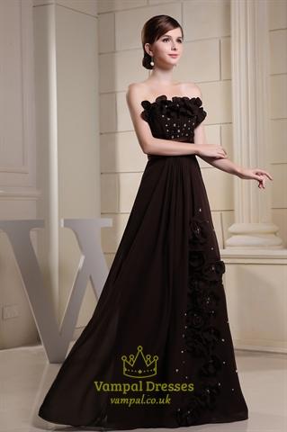 Long Brown Evening Dresses Chocolate Brown Chiffon