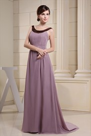 Long Purple Chiffon Prom Dresses, Formal Chiffon Dresses For Women