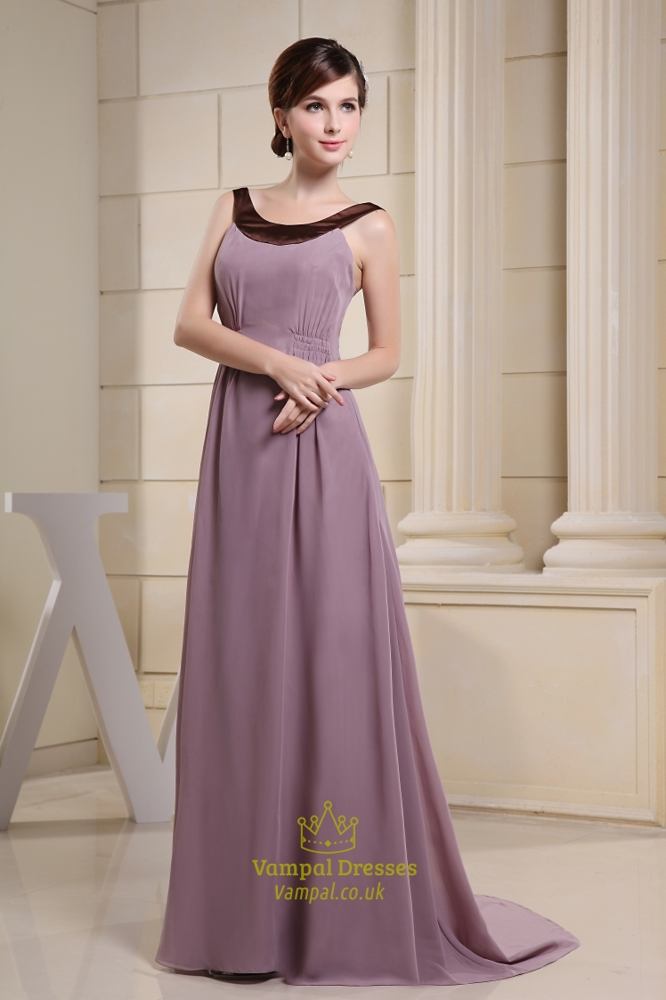 Long Purple Chiffon Prom Dresses Formal Chiffon Dresses