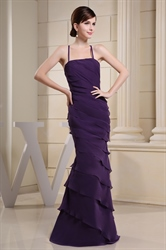Chiffon Tiered Ruffle Tube Dress, Long Purple Chiffon Evening Dress