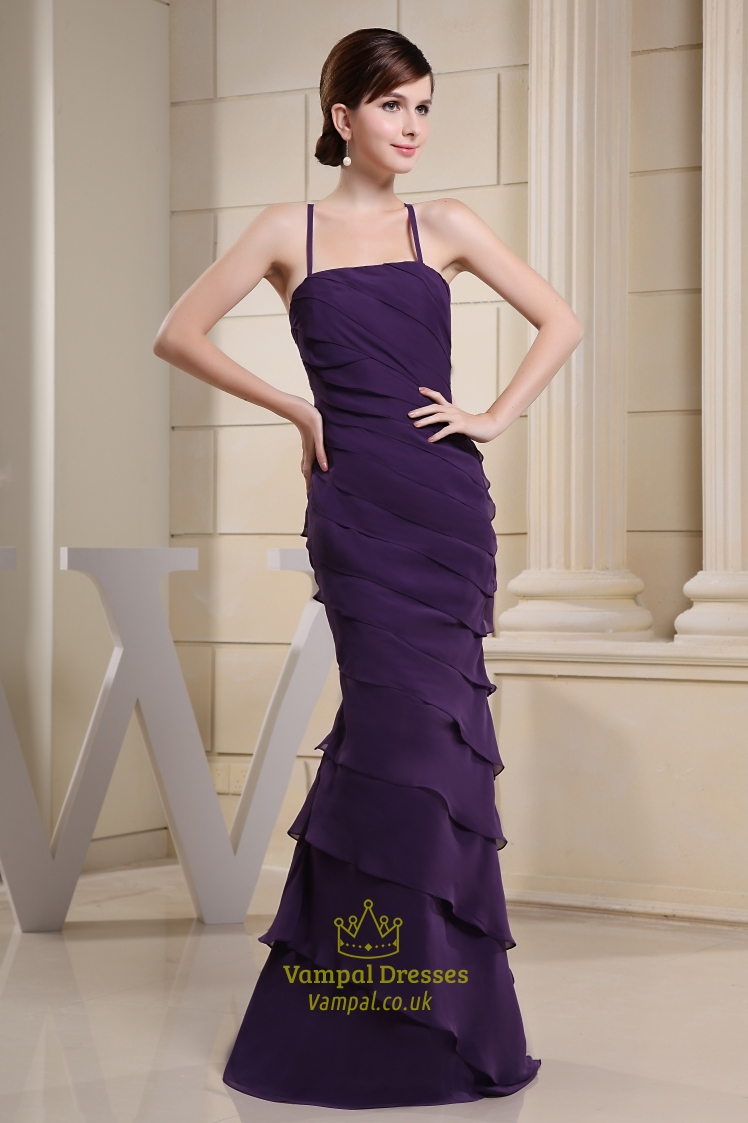 Chiffon Tiered Ruffle Tube Dress Long Purple Chiffon
