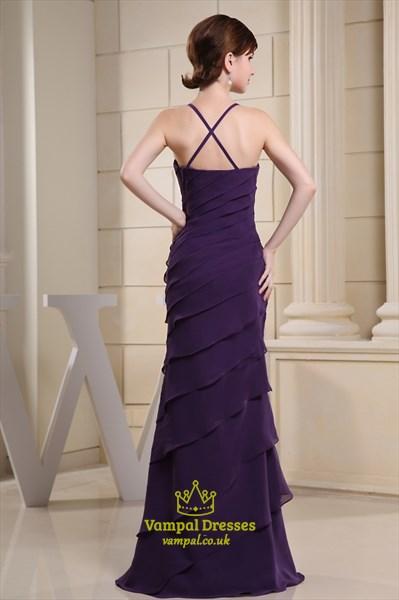 Chiffon Tiered Ruffle Tube Dress, Long Purple Chiffon Evening Dress