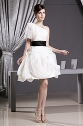 One Shoulder Organza Dress With Black Belt, Organza Homecoming Dresses
