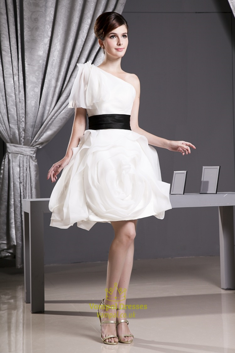 aff70442c92 One Shoulder Organza Dress With Black Belt