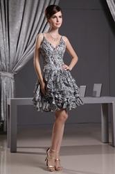 V Neck Short Cocktail Dresses, Short Dresses For Wedding Guest