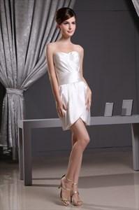 Short Ruched Homecoming Dress,Strapless Empire Waist Short Prom Dress