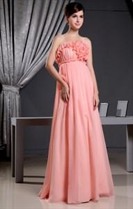 Coral Chiffon Bridesmaid Dress, Chiffon Empire Waist Bridesmaid Dress