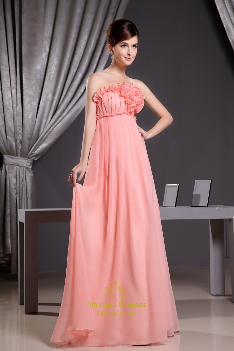 Coral Chiffon Bridesmaid Dress Chiffon Empire Waist