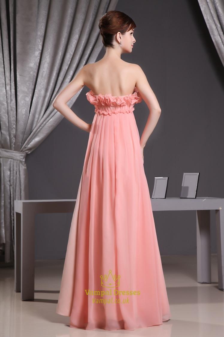 Coral Chiffon Bridesmaid Dress, Chiffon Empire Waist