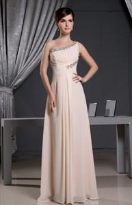 Beaded Peach One Shoulder Party Dress,Ruffle-Embellished Chiffon Dress