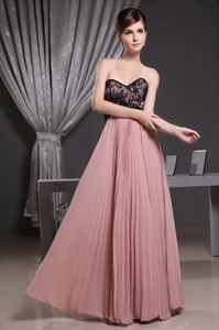 Blush And Black Bridesmaid Dress, A Line Sweetheart Chiffon Prom Dress