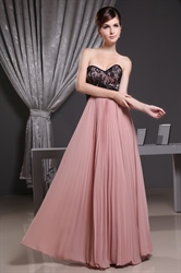 Blush And Black Bridesmaid Dress, A Line Sweetheart Chiffon Prom Dress