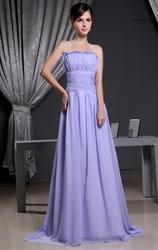 Lilac Chiffon Prom Dress, Strapless Pleated Long Chiffon Prom Dress