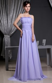 Lilac Chiffon Prom Dress, Strapless Pleated Long Chiffon Prom Dress