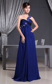 Royal Blue One Shoulder Evening Dress, Chiffon One Shoulder Long Dress