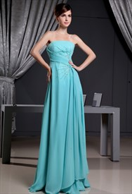 Strapless Long Beaded Chiffon Prom Dress,Blue Chiffon Bridesmaid Dress