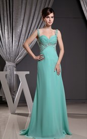 Jade Green Prom Dresses UK, Chiffon Empire Waist Evening Dresses