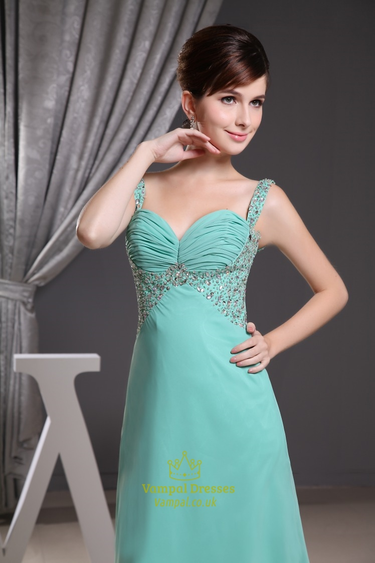 Jade Green Prom Dresses UK, Chiffon Empire Waist Evening Dresses ...