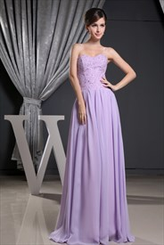 Lavender Chiffon Prom Dress, Sweetheart Long Chiffon Evening Dress
