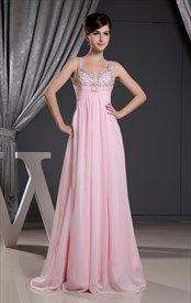 Pink Empire Waist Prom Dress,Chiffon A-Line Floor-Length Evening Dress