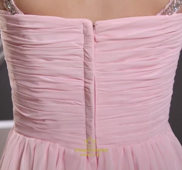 Pink Empire Waist Prom Dress,Chiffon A-Line Floor-Length Evening Dress