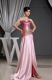 Sequin Sweetheart Prom Dress, Long Strapless Sequin Evening Dress