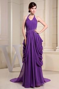 Purple Halter Neck Maxi Dress With Train,Purple Prom Dresses 2021 UK